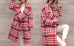 千鸟格毛呢外套清仓特卖,中长款修身显瘦、百搭茧型设计,时尚优雅,冬季必备单品!